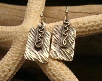 Fine Silver Earrings - Small Dangles - Textured Rectangle Squiggle Earrings