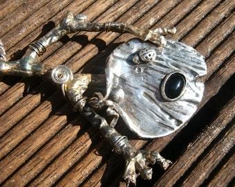 Fine Silver - PMC - Botanical - Ladybug's Retreat Pendant