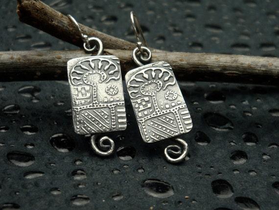 Fine Silver Tree Earrings - PMC - Folk Art Dangles