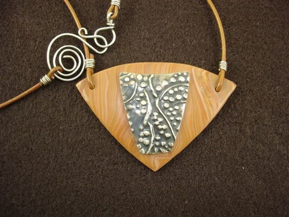 Serendipity Necklace-PMC and Polymer-Original Texture Design-Greek Leather and Handmade Clasp