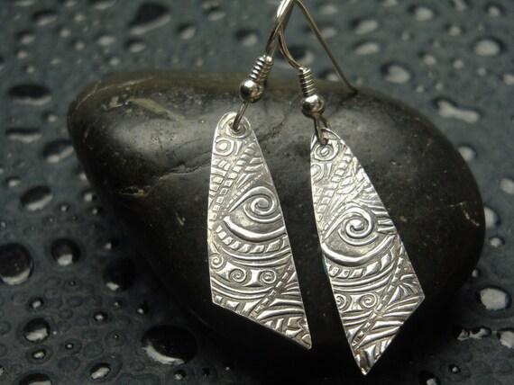 Fine Silver Earrings - Calypso Dangles - PMC - Textured Silver