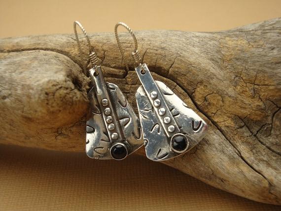 Fine Silver - Silver and Onyx Dangle Earrings - Western Earrings