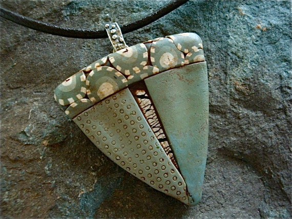 Sage Green Polymer and Silver Pendant