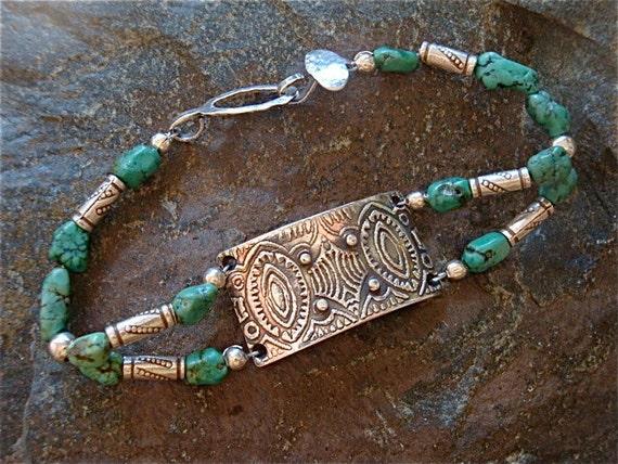 Fine Silver Bracelet - Native American - Beaded Bracelet - OOAK - Turquoise Reflections Bracelet
