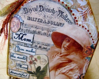 Inspirational Collage Art, Mixed Media, For Mom, Beautiful, by Debbie Saenz on Etsy