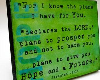 Hope Painting - Jeremiah 29:11 -  Print Mounted on Wood