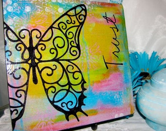 Trust Butterfly Print Mounted on Wood