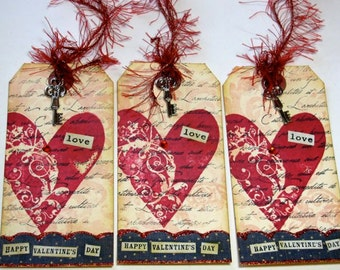 Valentine Tags - Set of 3 - Vintage Style with Charms