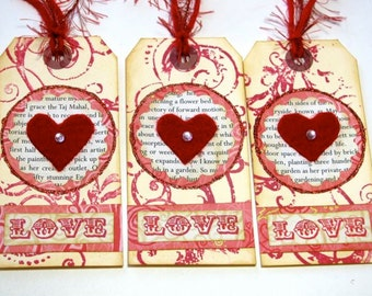 Valentine Tags - Set of 3 - Love and Hearts - Bookmarks too