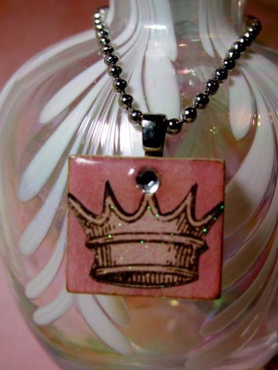 Scrabble Tile Necklace with Crown