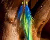 Seattle Sounders FC themed blue & green feather earrings