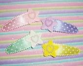 Fairy Kei Star Applique Clippies - 4 pc set
