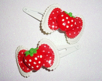 Juicy Red Strawberry Polka Dot Bow Hair Clippies