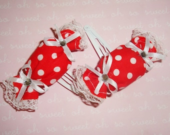 Red & White Polka Dot Puffy Candy Wrapper Clippies