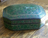 Vintage Paper Mache Box Green and Gold