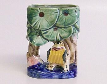Wall Pocket / Hanging Vase / Planter Ceramic Frog Playing Accordion