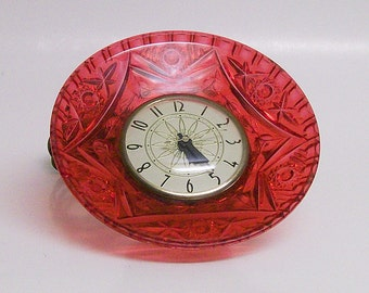 Clock Red Vintage Electric Table Clock