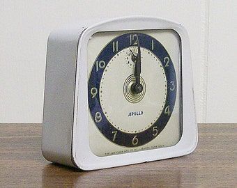 Vintage  Alarm Clock Mechanical Lux Blue White