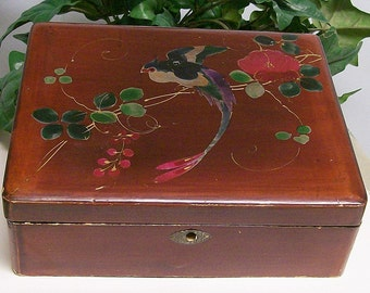 Lacquer Box Jewelry Keepsake Hand Painted