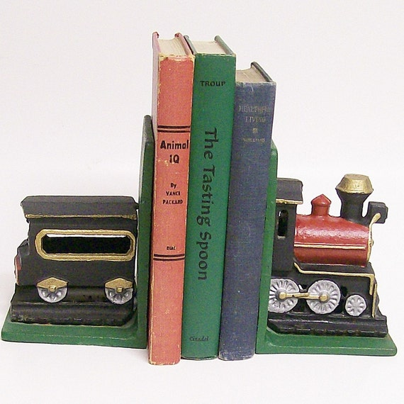 Nycrr Cast Iron Train: Vintage Cast Iron Train Bookends By VintageShelfAndWall On