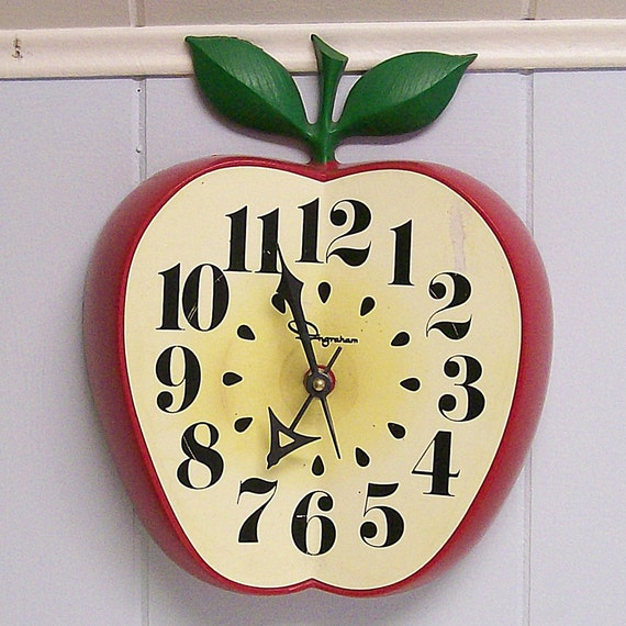 Vintage Apple Wall Clock Converted To By Vintageshelfandwall