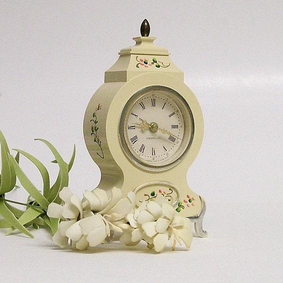 Vintage Westclox Windup Table Clock Cream with Flowers
