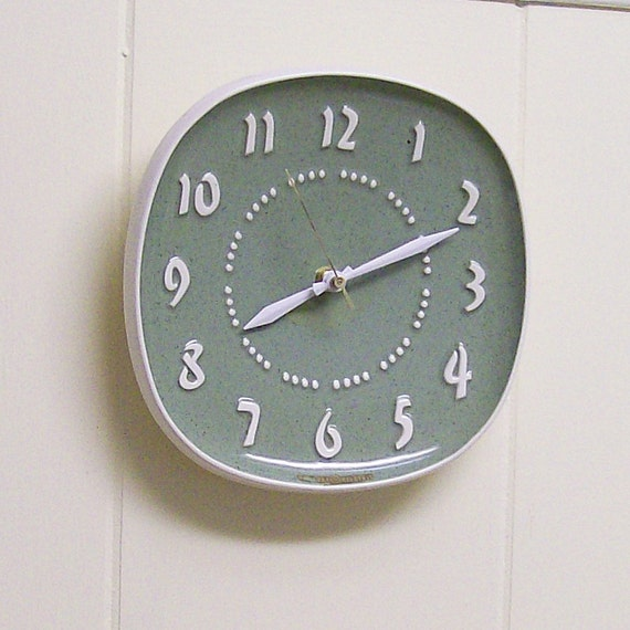 Vintage Ceramic Wall Clock from Telechron Meadow Green Converted to Battery