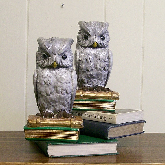 Vintage Owl Bookends Painted Plaster