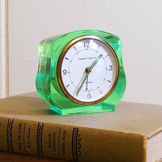 Clock Vintage Lucite Mechanical Alarm Green Phinney-Walker