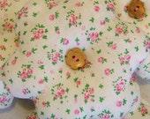 SALE: Pretty White & Pink Floral Fabric Flower Decoration / Door Hanger