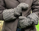 Woman's Long Wool Horseshoe Cabled Mittens in Gray/Stone - Made To Order - Warm and Rustic