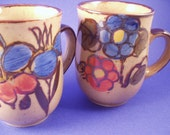 SALE - Groovy 1960's Vintage Speckled Mugs with Blue and Orange Flowers, Set of 4, FLOWER POWER