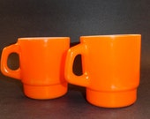 Vintage Orange Coffee Cups, Anchor Hocking, Set of Two