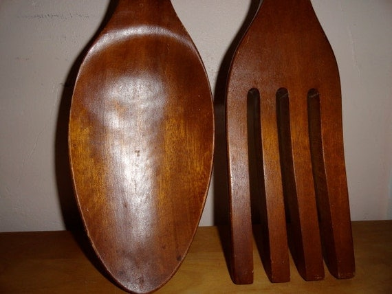 Vintage Giant Spoon and Fork Wall Decor by DishDashKitchenCo