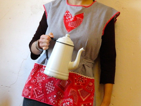 Vintage Apron, Black Gingham with Red Bandana Heart, Full Smock Style