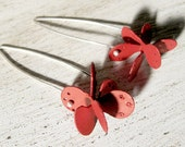 Sterling silver copper and red enamel dangling earrings