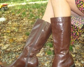 Tall unlined Chocolate brown leather boots size 8 1/2 made in Brazil