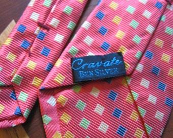 Vintage silk necktie PINK blue yellow MINT condition CRAVATE Ben Silver made in Italy