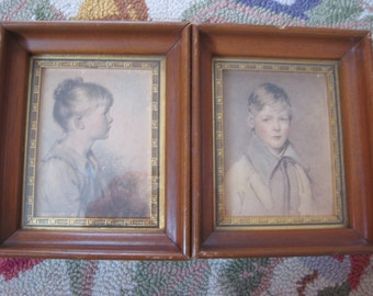 """Sydney Bell PORTRAITS """"charlotte and peter"""" framed 1920s art by C & A Richards Boston, Ma"""