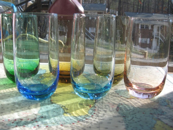 Vintage 1970s CANDY COLORED glassware set of 6