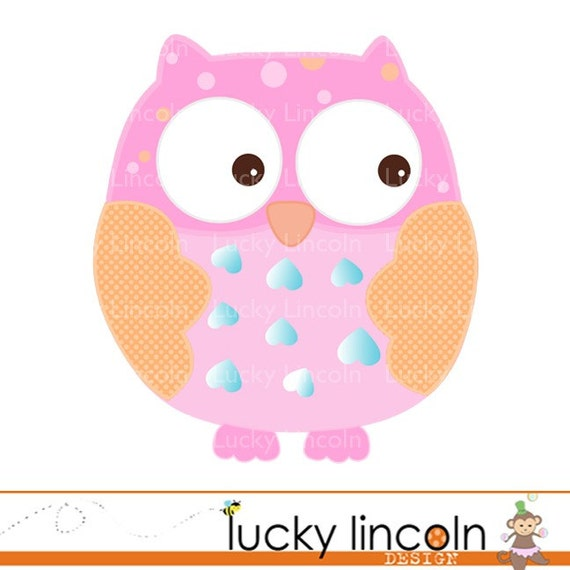 Items similar to Pink and Orange Owl Clip Art - for ...