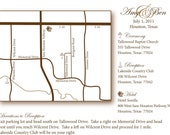 Wedding Maps - Redrawn from Actual Maps- Digital Printable File-Can Include Ceremony and Reception Sites