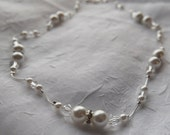 Bridal Necklace & Earring Set - White Pearls and Clear Crystals on Silver Chain