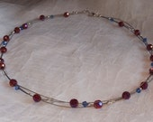 Custom Order (Reserved for annettematthews) Red Faceted Glass Beaded Necklace with Clear and Blue Crystals