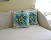 "Silsila Suzani in Aqua Indoor Outdoor 18""x18"" Pillow Cover"