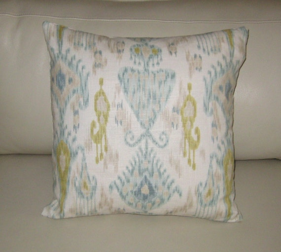 "Khanjali Ikat Design in Glacier by Robert Allen 18""x18"" Pillow Cover"