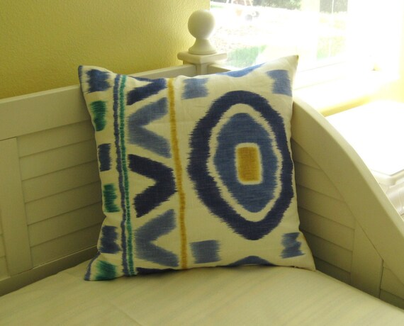 "NEW YEARS SALE - Thom Filicia Prospect in Lake Linen Ikat Design 20""x20"" Pillow Cover"