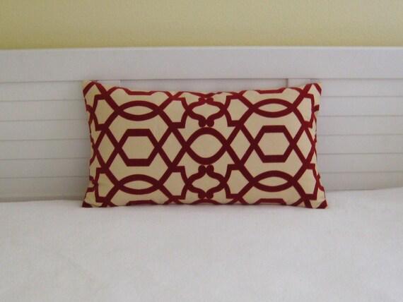 "Iman Home Design Sultana Lattice in Amaryllis 14""x24""  Lumbar Pillow Cover"