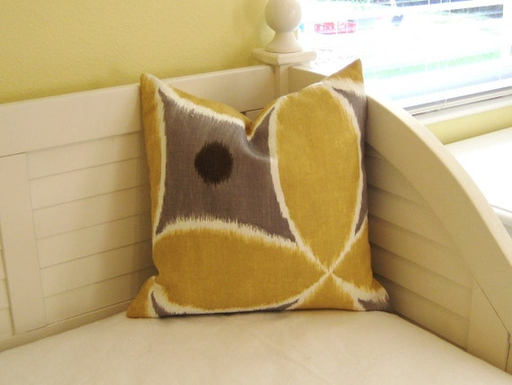 """Ada In Pewter and Yellow by Thomas Paul  for Duralee 18""""x18"""" Pillow Cover"""