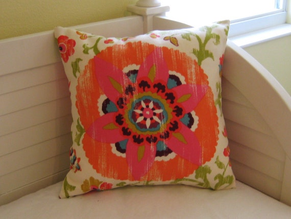 Silsila Suzani in Orange and Pink Indoor Outdoor  Pillow Cover
